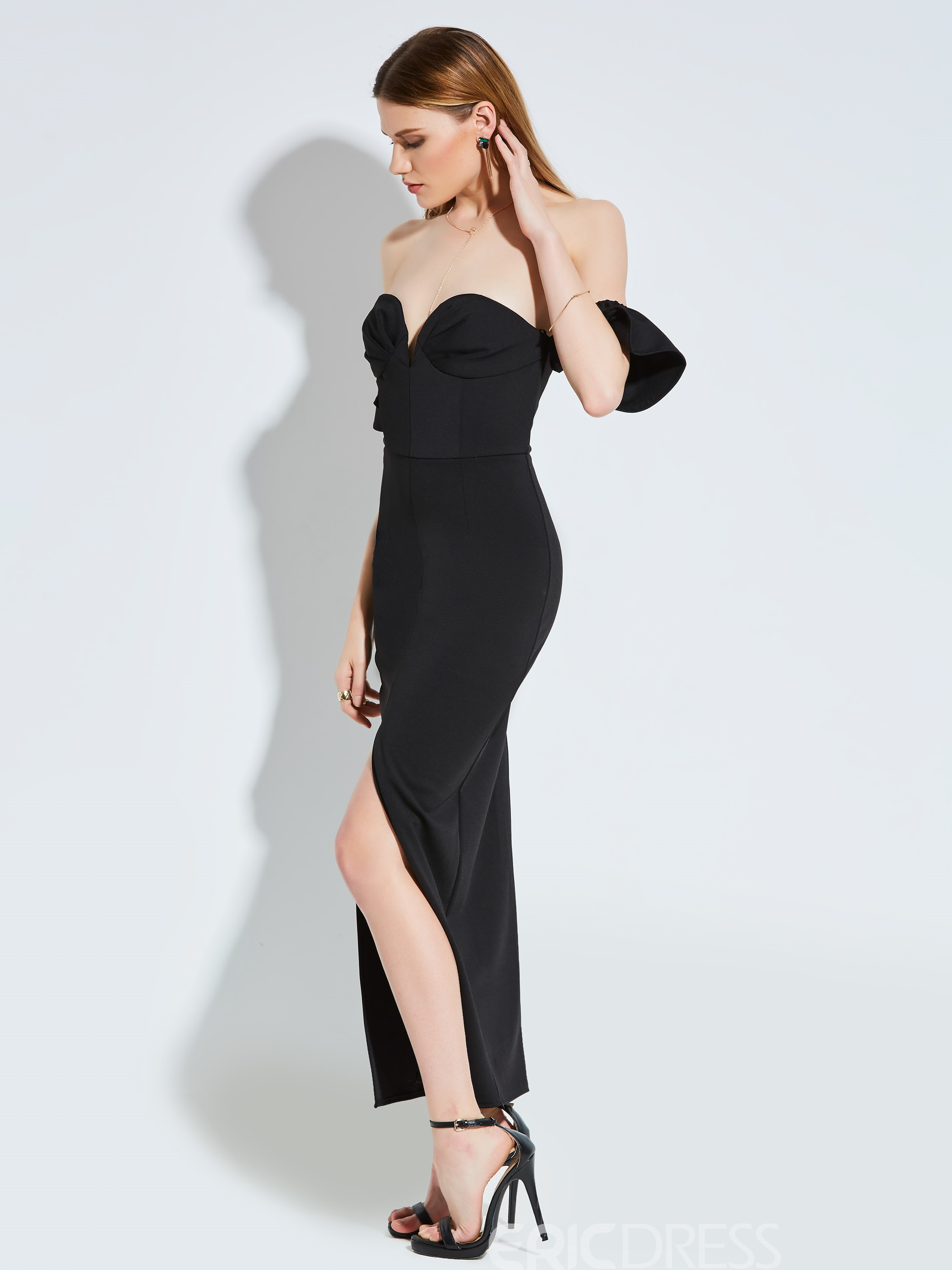Ericdress Strapless Ruffle Sleeve Backless Maxi Dress