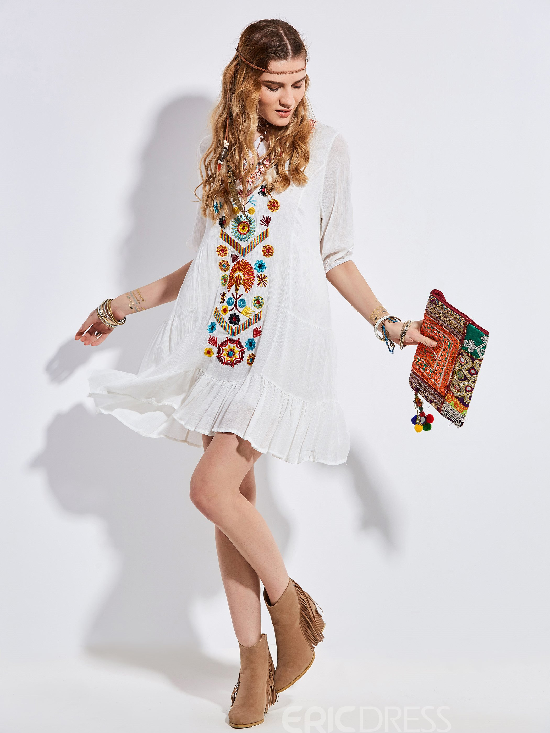 Ericdress Solid Color Geometric Embroidery Casual Dress