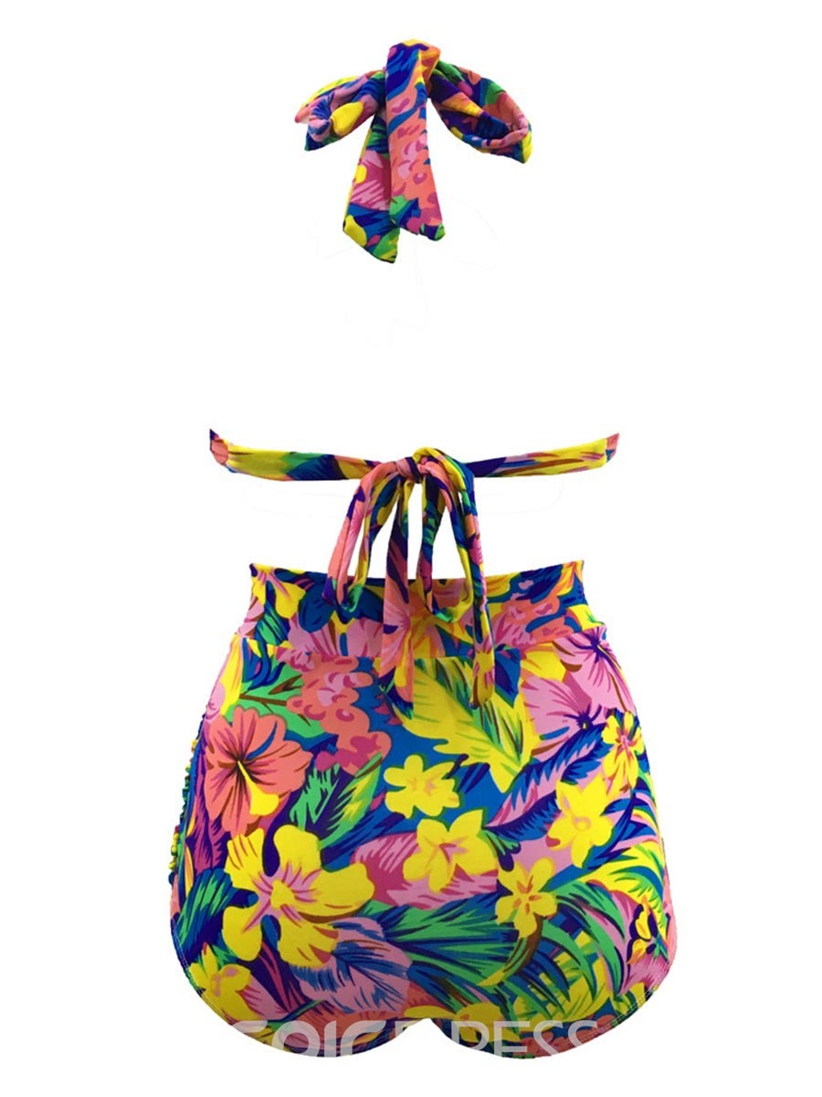 Ericdress Colorful Lace-Up Floral Tankini Set