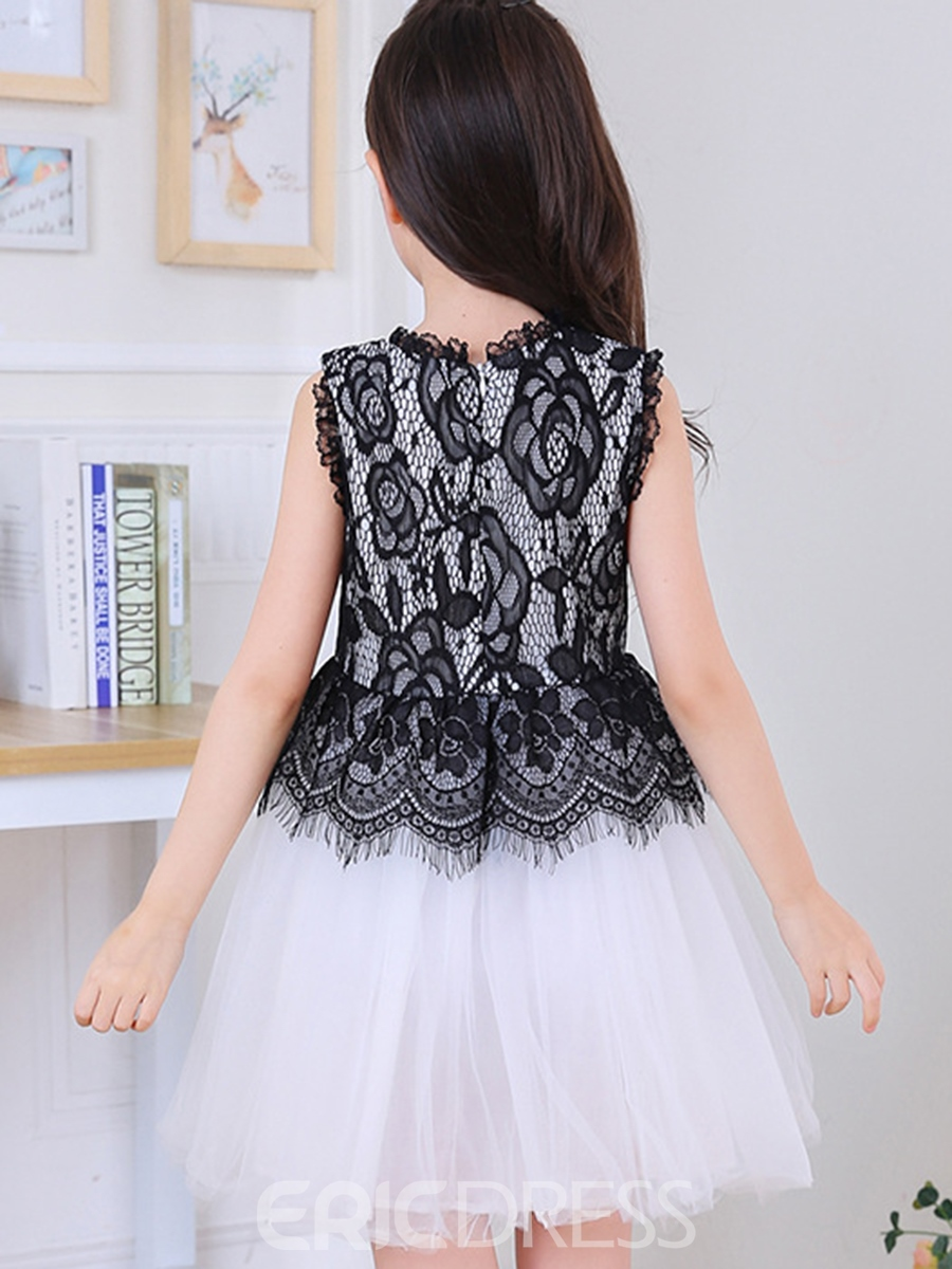 Ericdoress Color Block Lace Mesh Tutu Girls Dress