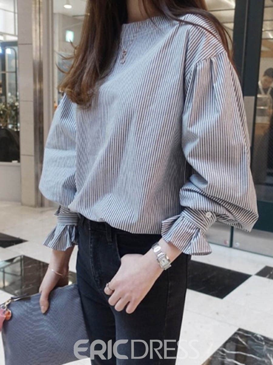 Ericdress Stripe Lantern Sleeve Loose Blouse