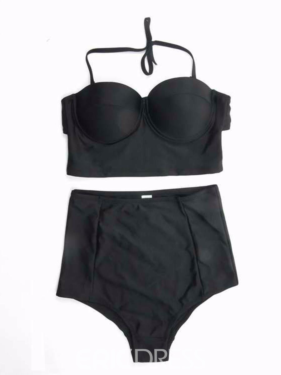 Ericdress Plain Lace-Up Tankini Set