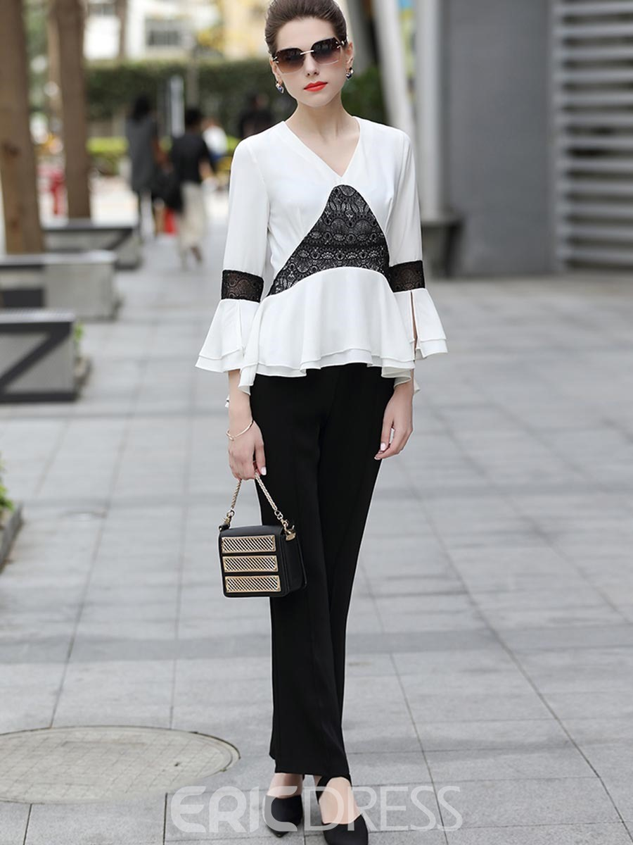 Ericdress V-Neck Patchwork Flare Sleeve Blouse