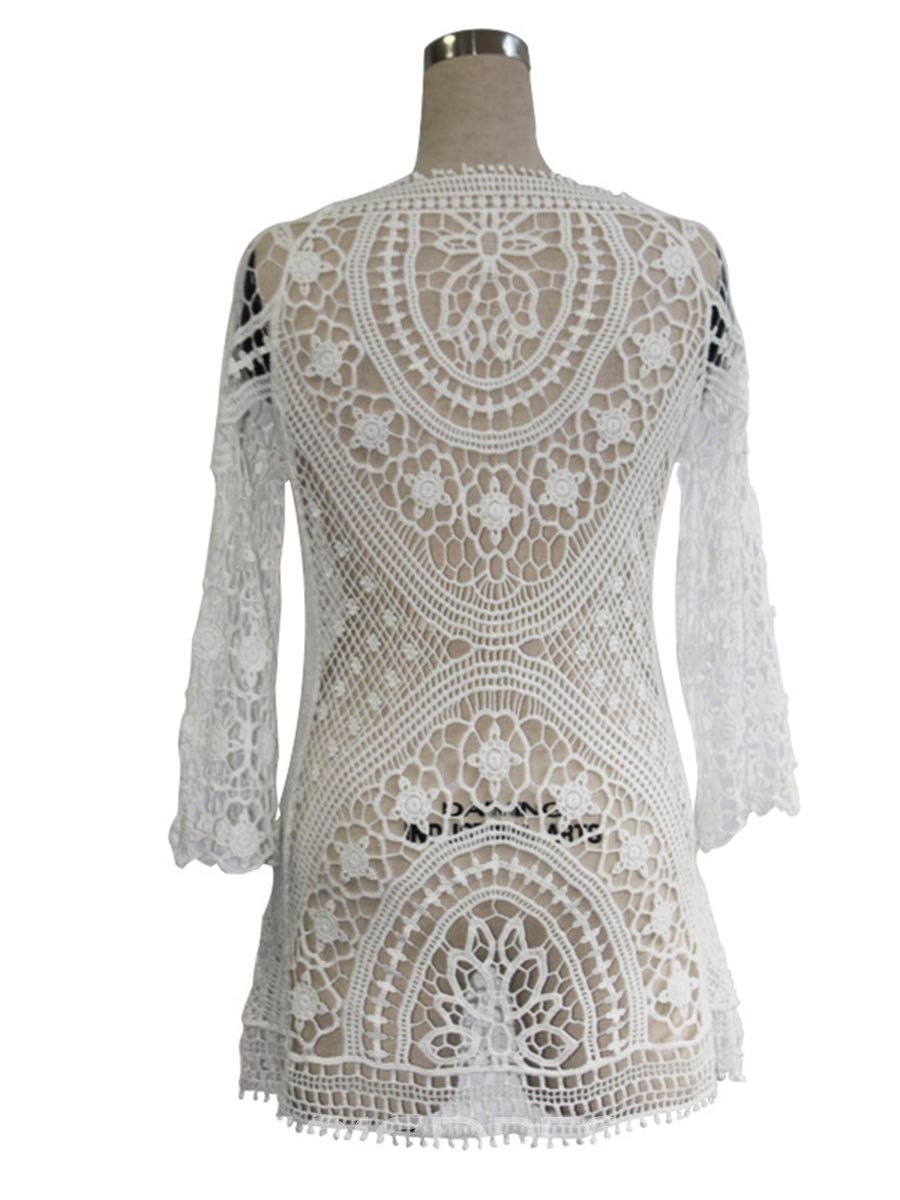 Ericdress Knitting Hollow Embroidery Beach Cover Ups