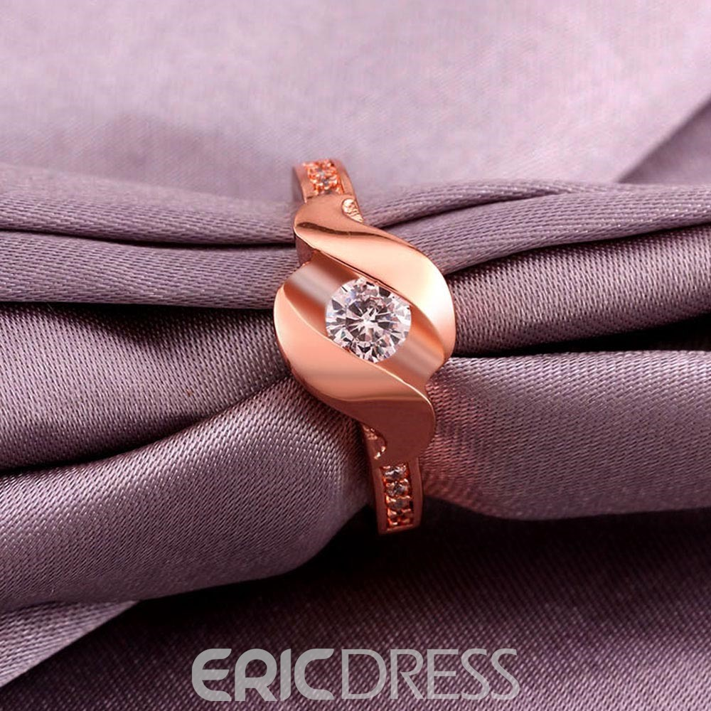 Ericdress Diamante Rose Gold Plated Wedding Ring