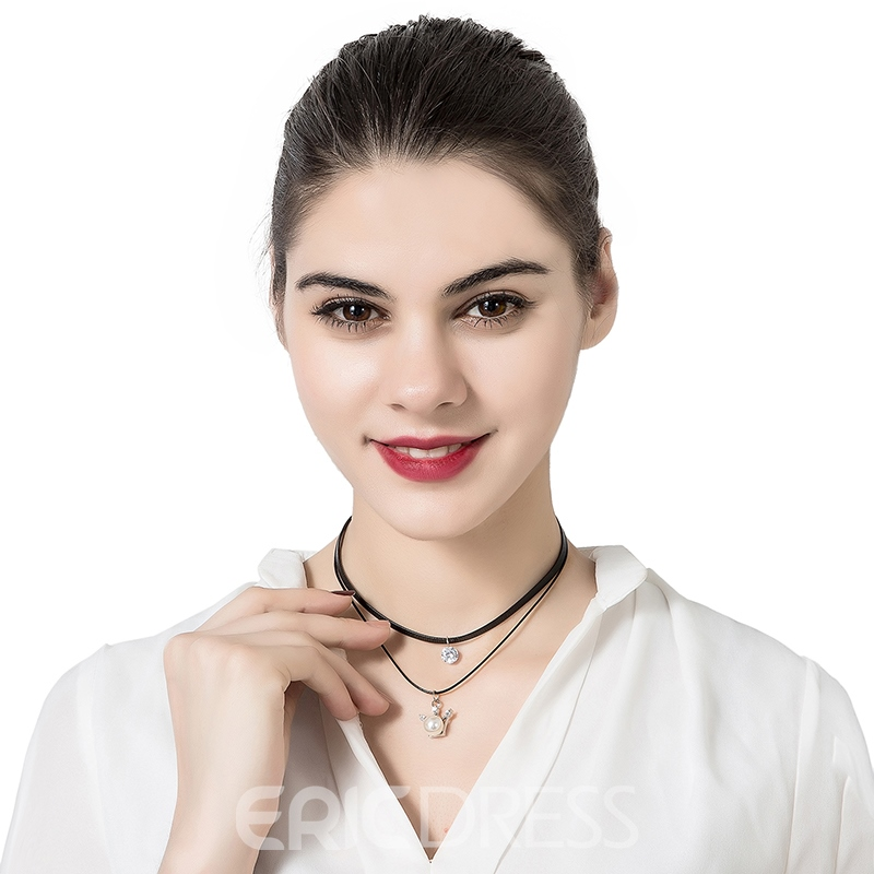 Ericdress Graceful Crown Pendant Pearl Choker