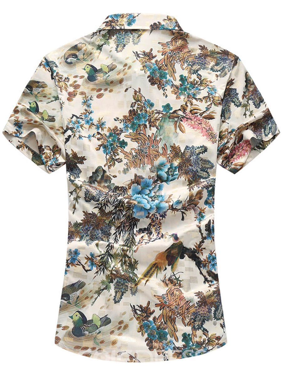 Ericdress Floral Print Short Sleeve Vogue Casual Men's Shirt