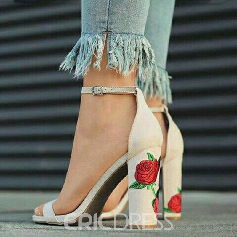 Ericdress Embroidery Line-Style Buckle Chunky Heel Sandals