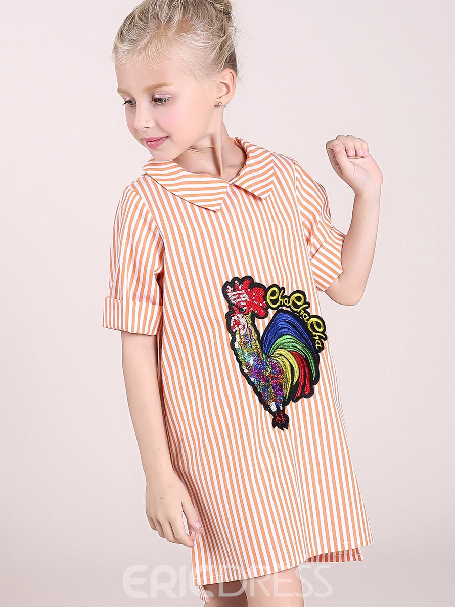 Ericdress Cock Embroidery Stripe Lapel Girls Dress