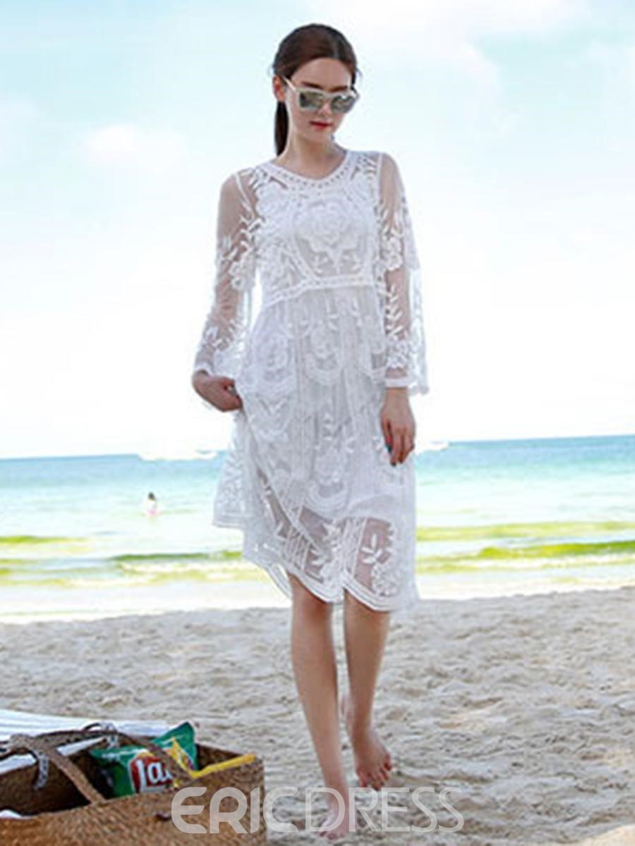 Ericdress Embroidery Mesh Hollow Beach Dresses