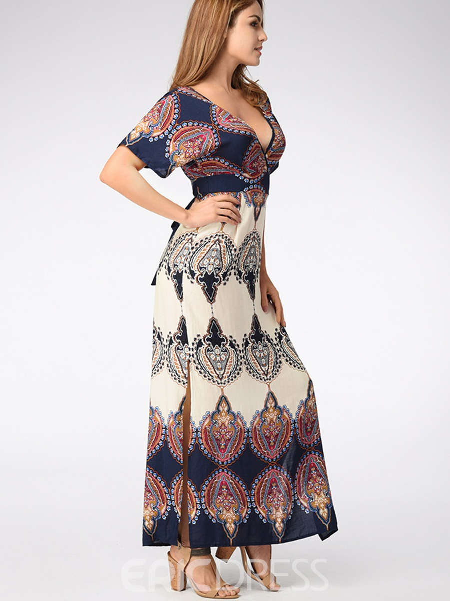 Ericdress Bohemian Print Backless Mid-Waist Maxi Dresses