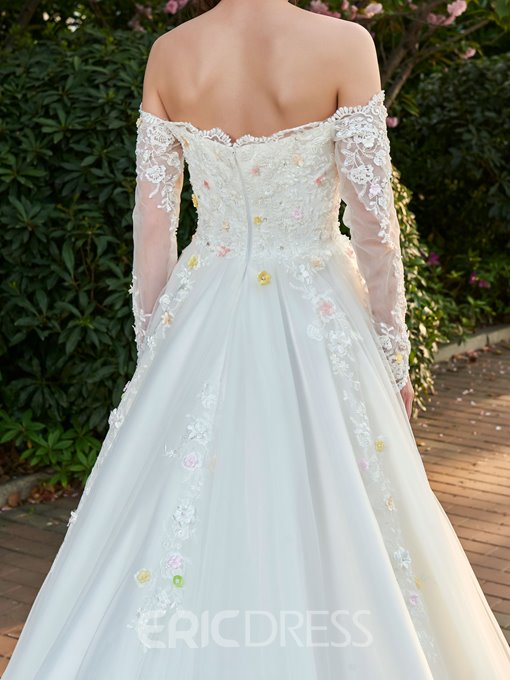Ericdress Beading 3D-FLoral Appliques Off Shoulder Wedding Dress with Long Sleeves