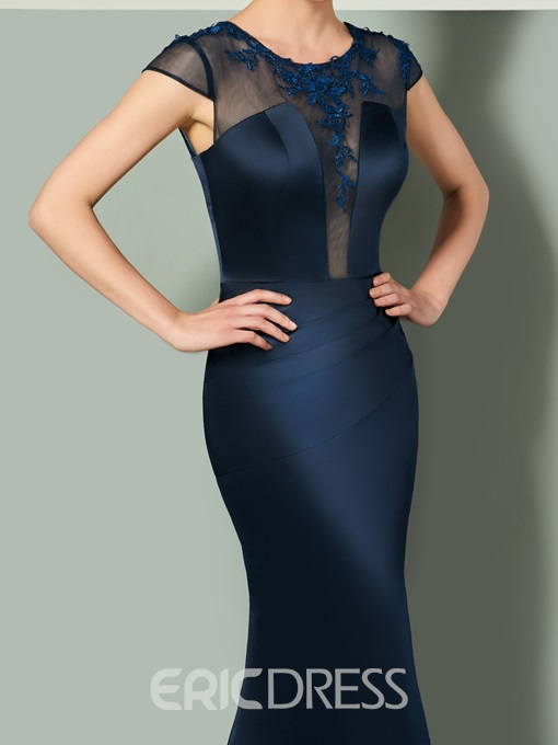 Ericdress Cap Sleeve Zipper-Up Floor Length Mermaid Evening Dress