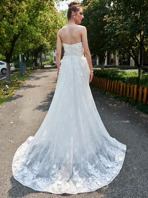 Ericdress A-Line Strapless Sweetheart Floral Appliques Lace Wedding Dress