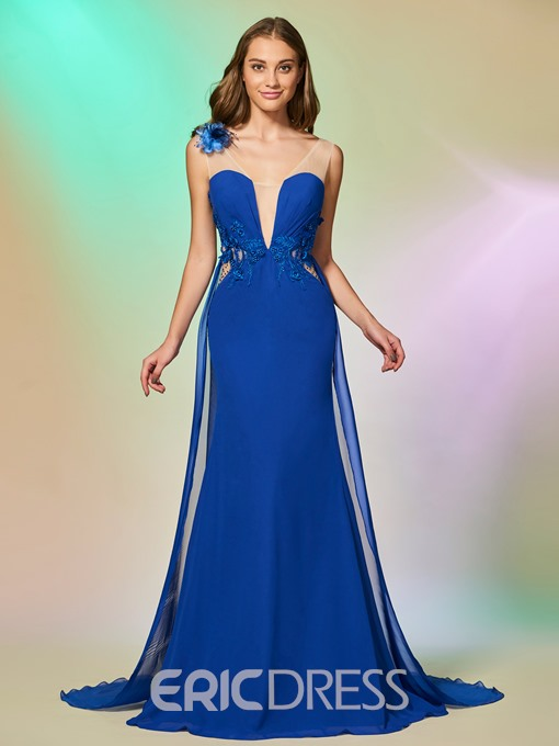Ericdress A Line V Neck Mermaid Prom Dress With Sweep Train