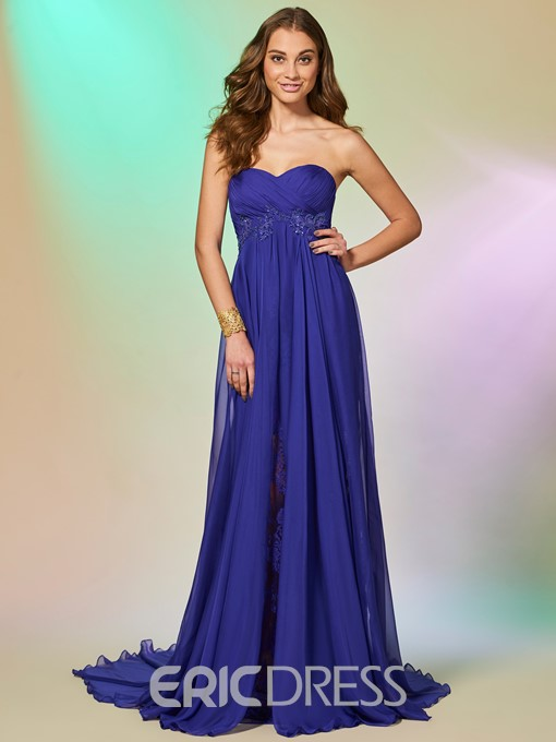 Ericdress A Line Sweetheart Lace Applique Chiffon Prom Dress