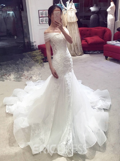 Ericdress Mermaid Lace Beading Off the Shoulder Wedding Dress