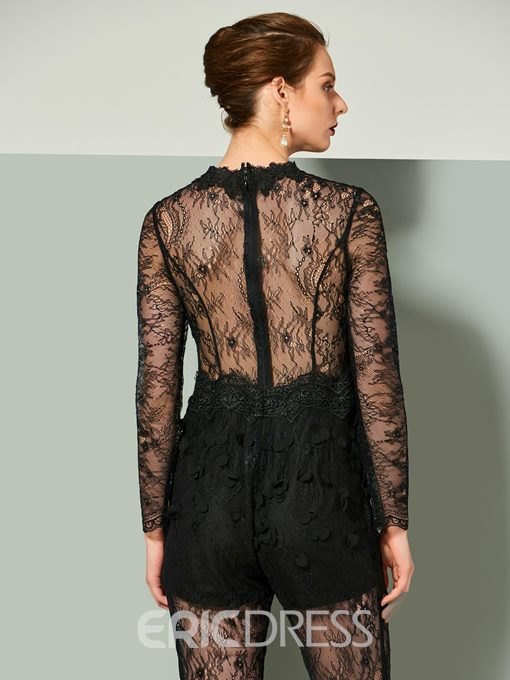Ericdress Sheath Long Sleeve Lace Prom Jumpsuit