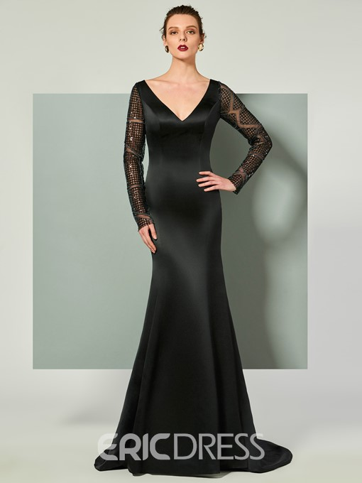 Ericdress Long Sleeve V Neck Mermaid Evening Dress With Court Train