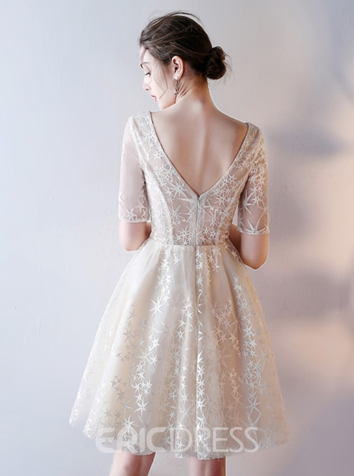 ERicdress A Line Short Sleeve V Neck Lace Homecoming Dress