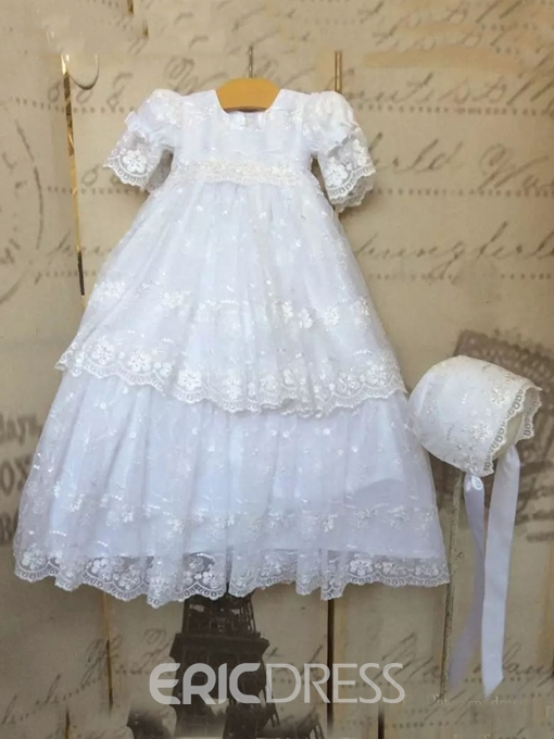 Ericdress Tiered Lace Baby Girls Baptism Dress with Bonnet