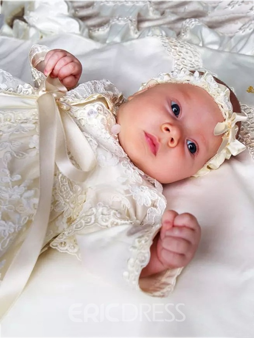 Ericdress Lace Baby Girls Christening Baptism Dress with Headpiece