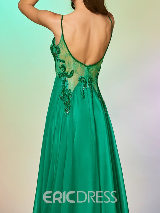 Ericdress A Line Spaghetti Straps Beaded Long Prom Dress