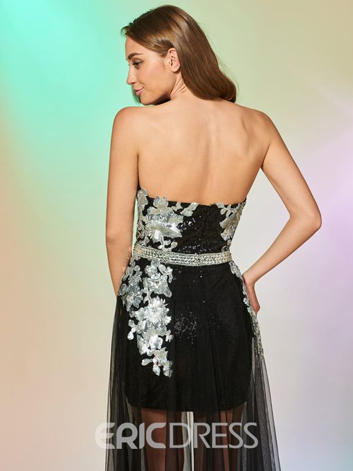 Ericdress Sheath Strapless Sequin Prom Dress With Tuell Train