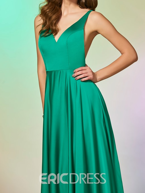 Ericdress A Line V Neck Criss-Cross Straps Back Prom Dress
