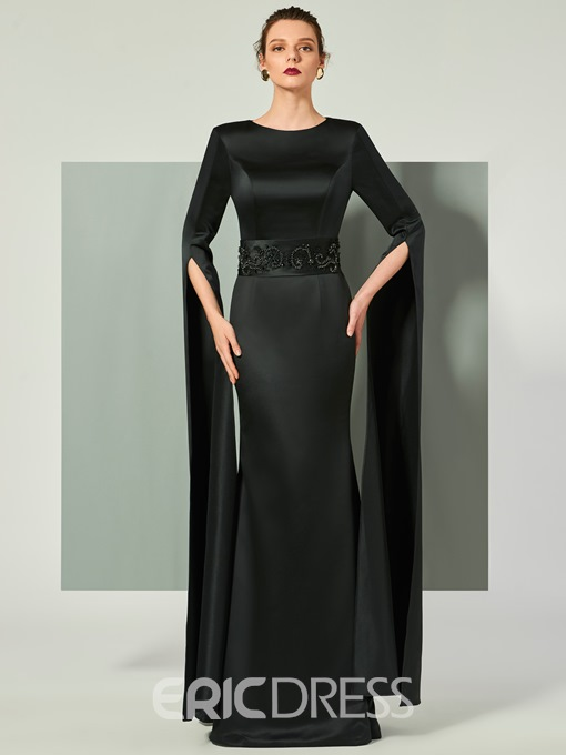 Ericdress Sheath Long Sleeve Beaded Floor Length Evening Dress