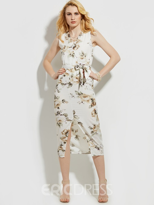 Ericdress V-Neck Flower Print Sleeveless Sheath Dress