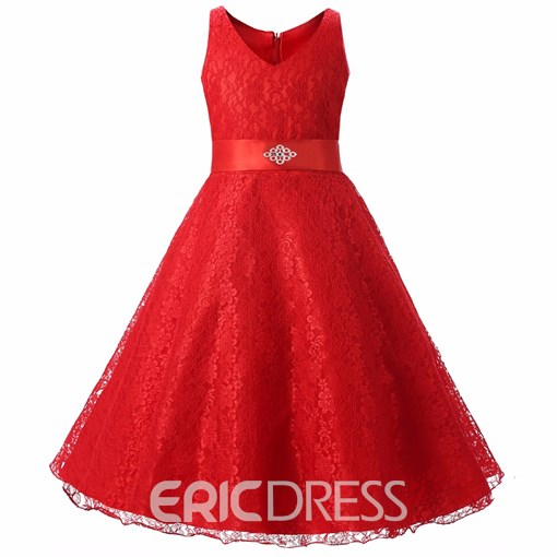 Ericdress A-Line Sleeveless Lace V-Neck Flower Girl Party Dress
