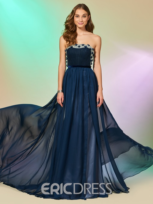 Eridress A Line Beaded Strapless Long Prom Dress With Sweep Train