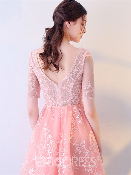 Ericdress Short Sleeve V Neck Lace A Line Homecoming Dress