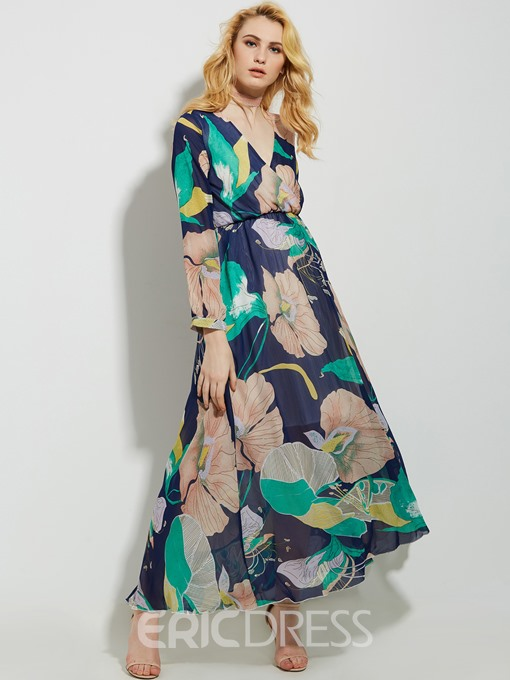 Ericdress V-Neck Expansion High-Waist Maxi Dress