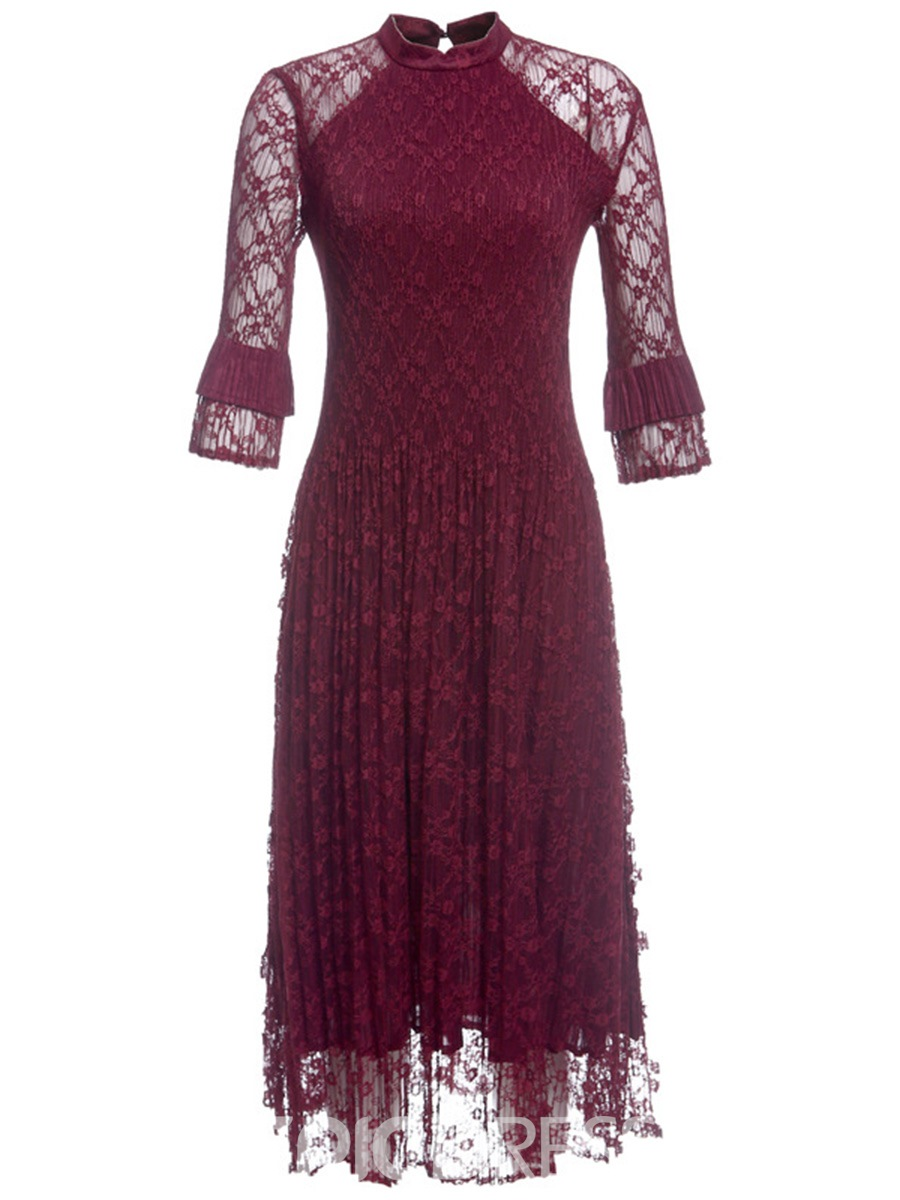 Ericdress Stand Collar 3/4 Length Sleeves Pleated Lace Dress