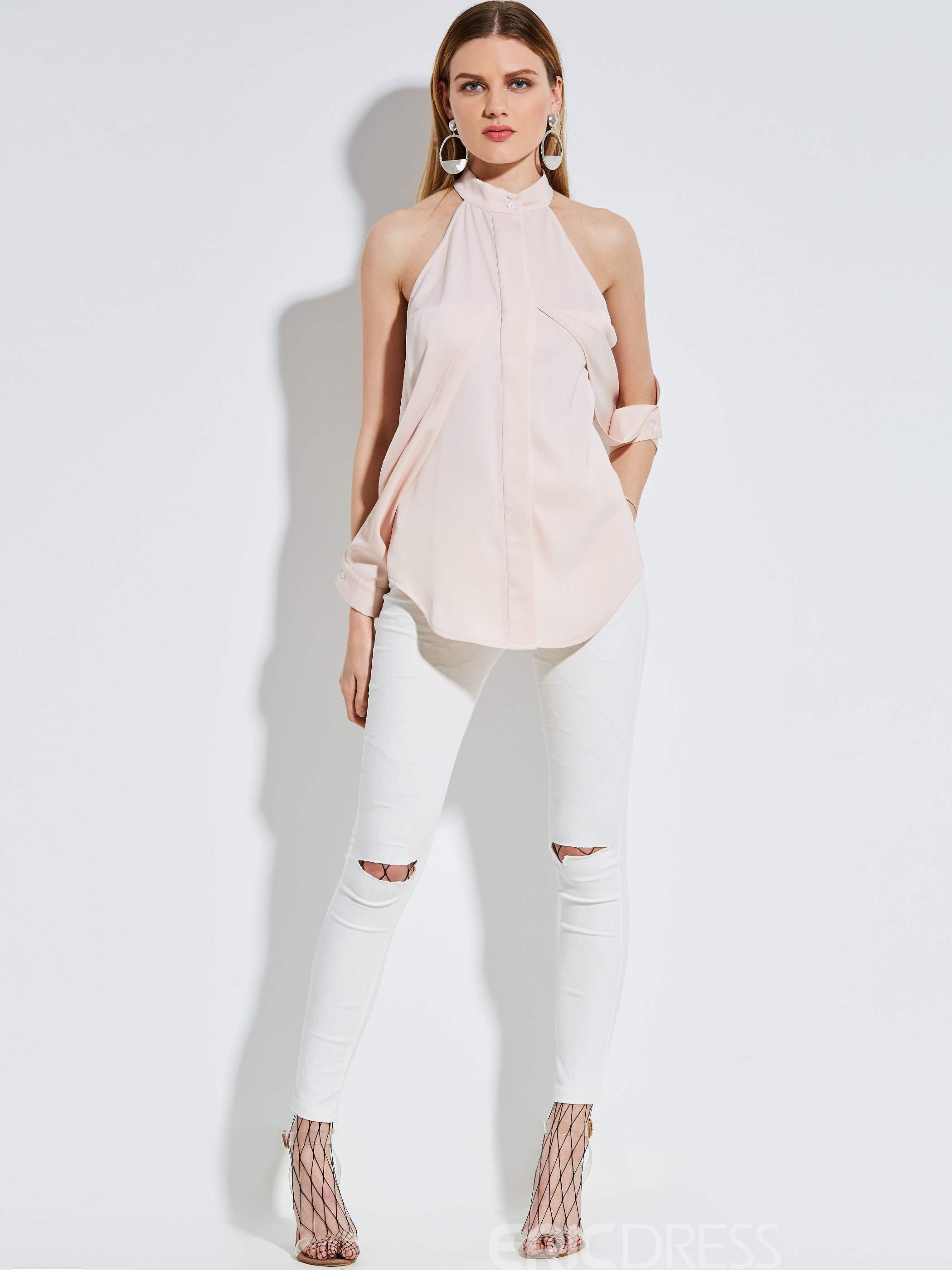 Ericdress Stand Collar Cold Shoulder Blouse
