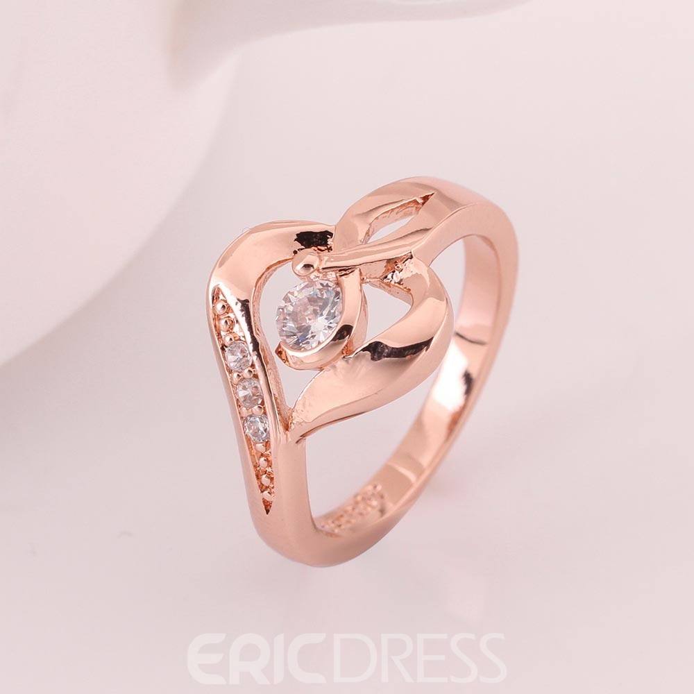Ericdress Unique Design Rose Gold Plated Diamante Wedding Ring ...