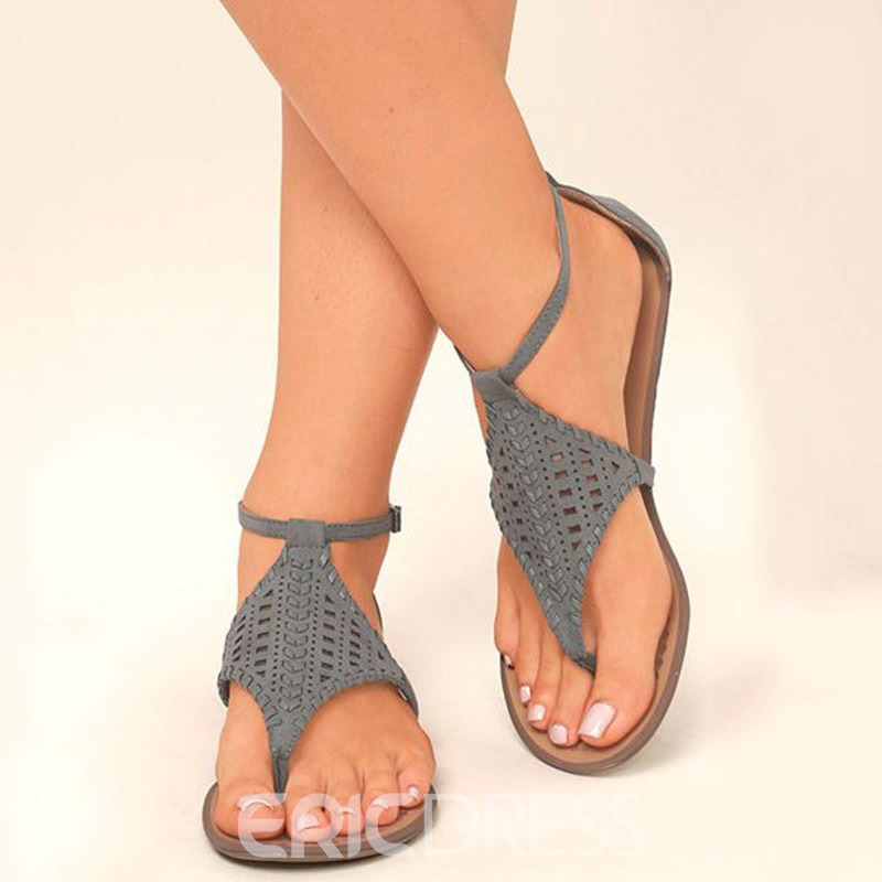 86fcca655 Ericdress Hollow Heel Covering Flat Sandals 12837100 - Ericdress.com