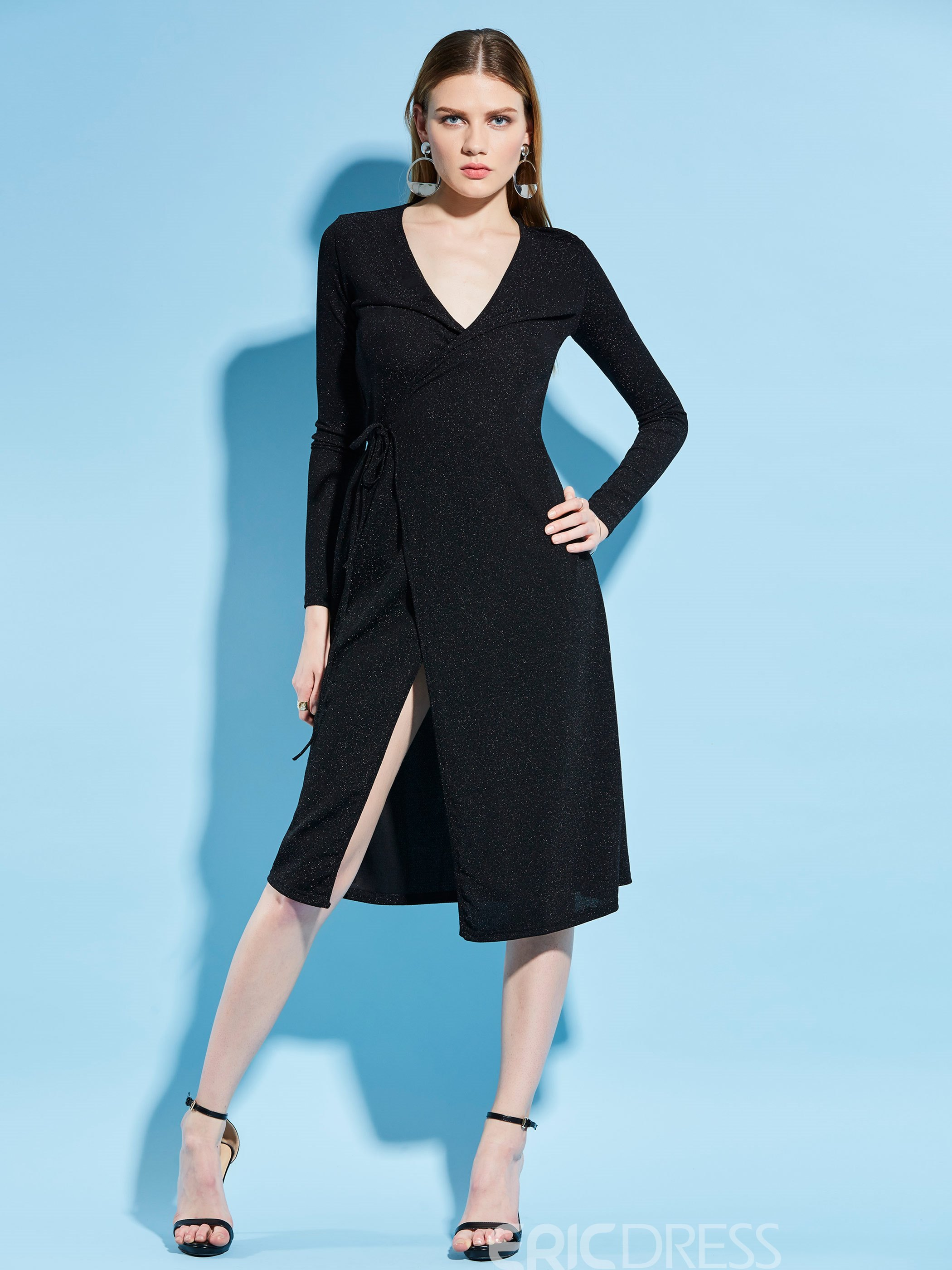 V-Neck Plain Mid-Calf Women's A-Line Dress