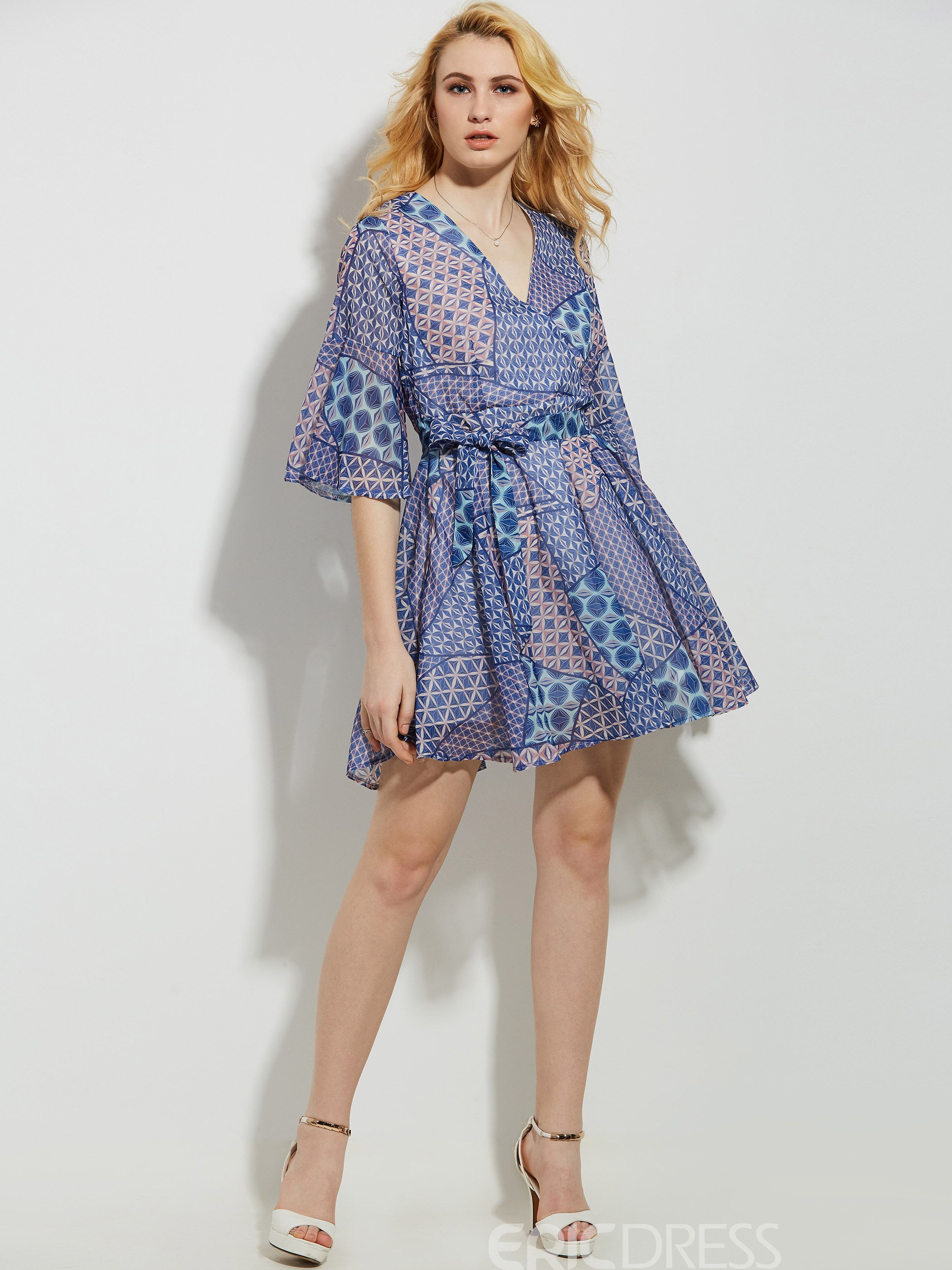 Ericdress V-Neck Geometric Pattern Color Block A Line Dress