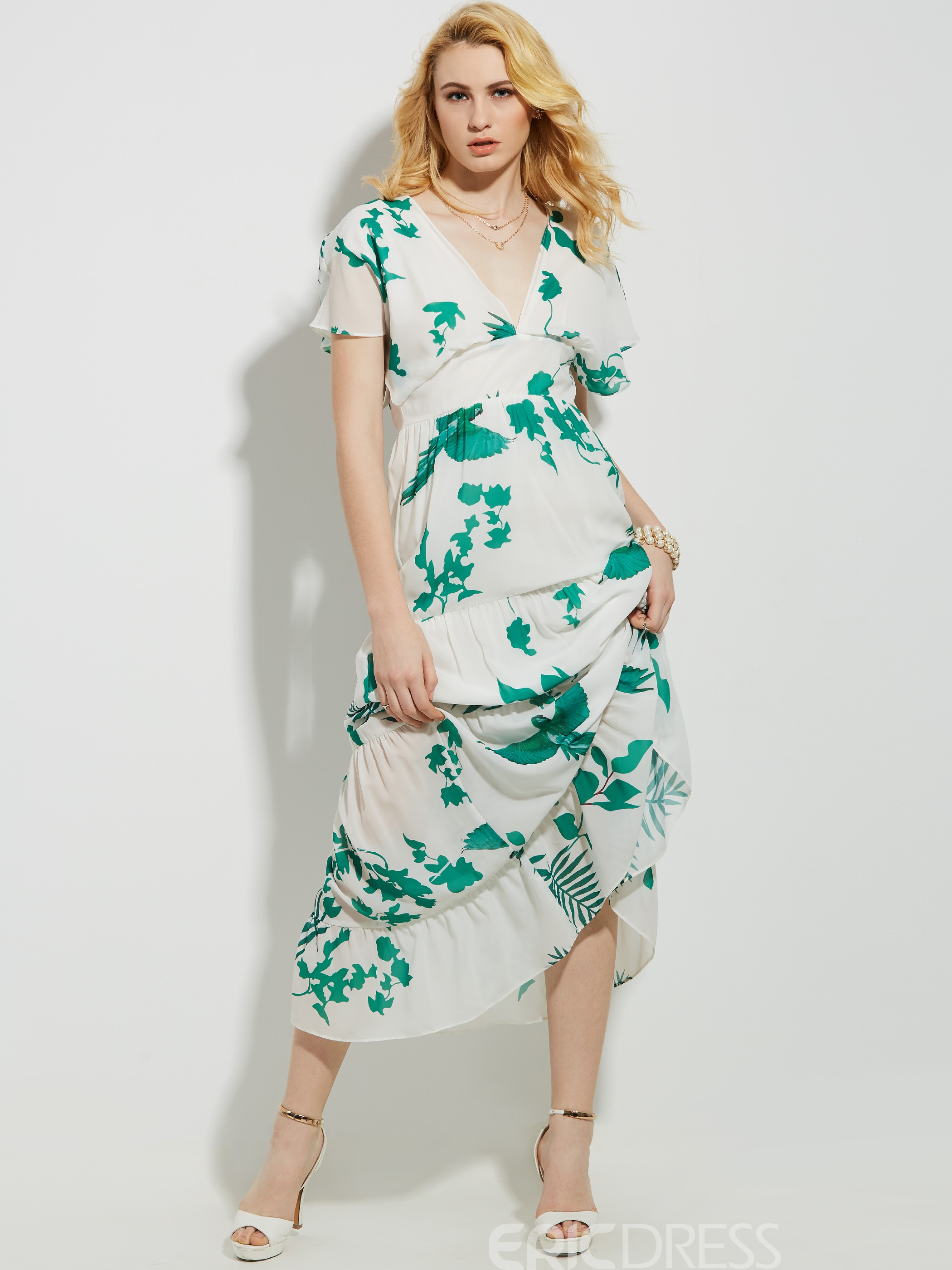 Ericdress Plant Short Sleeve V-Neck Maxi Dress