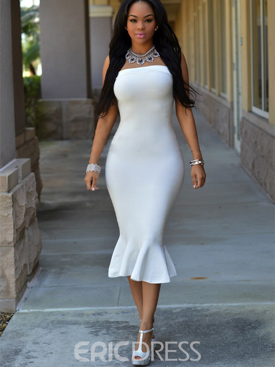 Ericdress Solid Color Off-the-Shoulder Mermaid Bodycon Dress