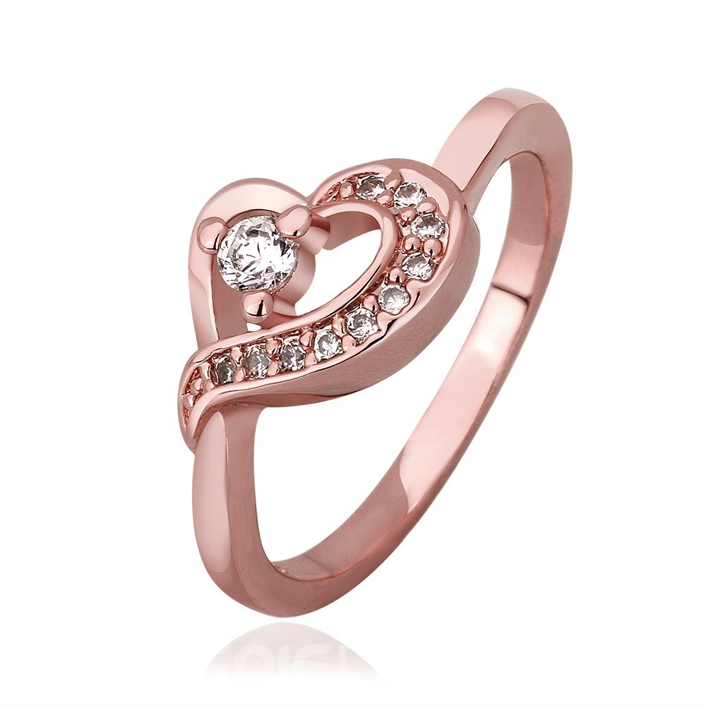 Ericdress Charming Heart Rose Gold Plated Wedding Ring
