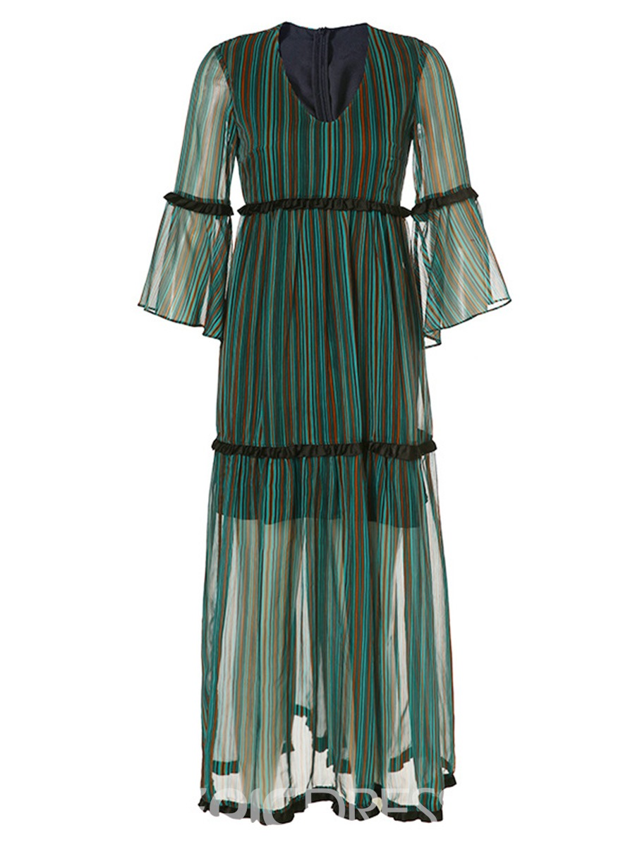 Ericdress Stripe Color Block See-Through Flare Sleeve Casual Dress