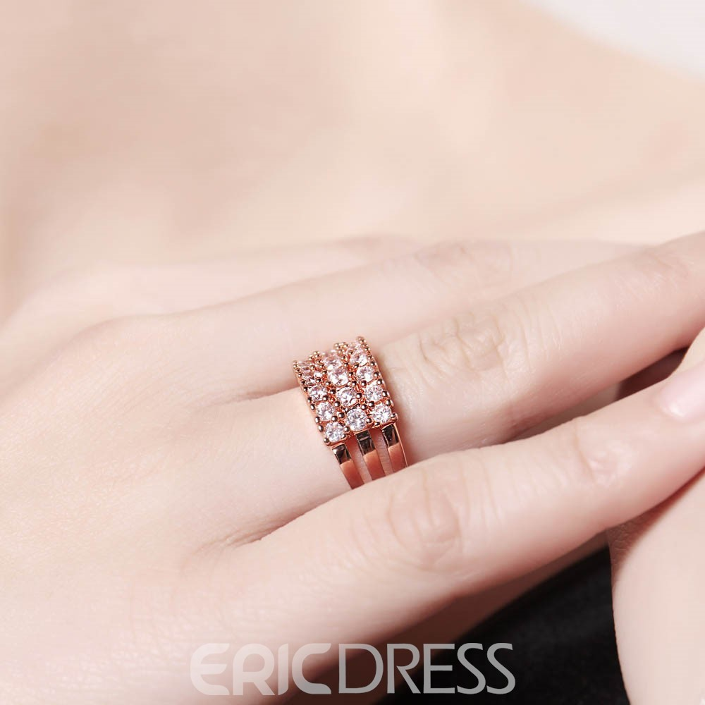 Ericdress Rose Gold Round Cut Zircon Inlay Women's Ring