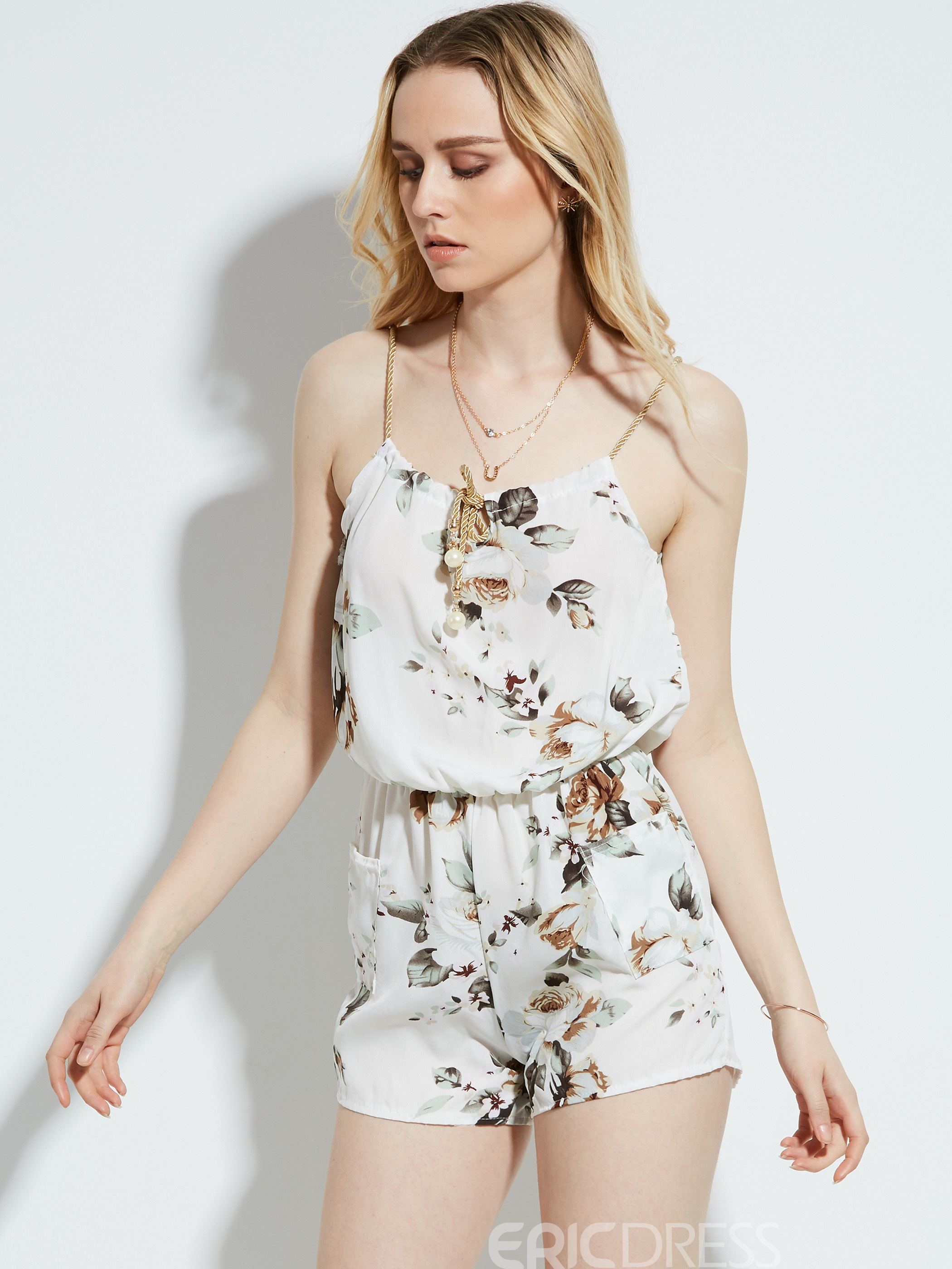 Slim Drawstring Flower Print Women's Jumpsuit