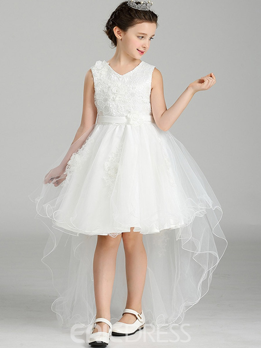 Ericdress Asymmetrical 3D Flower Appliques Girls Dress