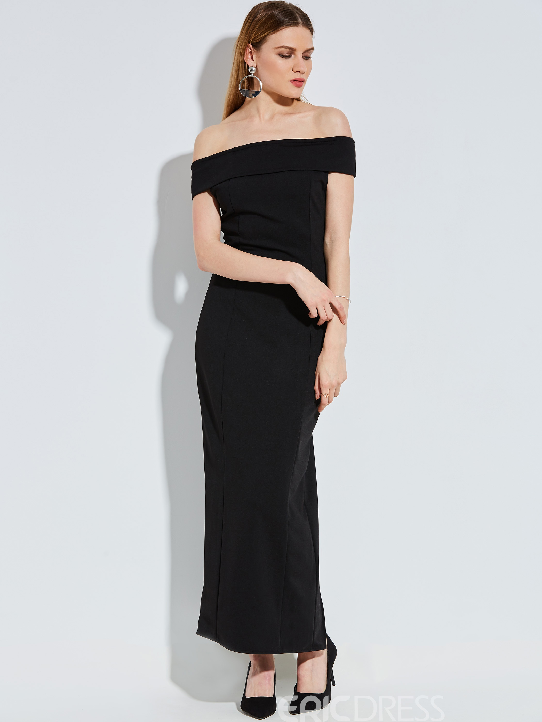 Slash Neck Plain Women's Maxi Dress