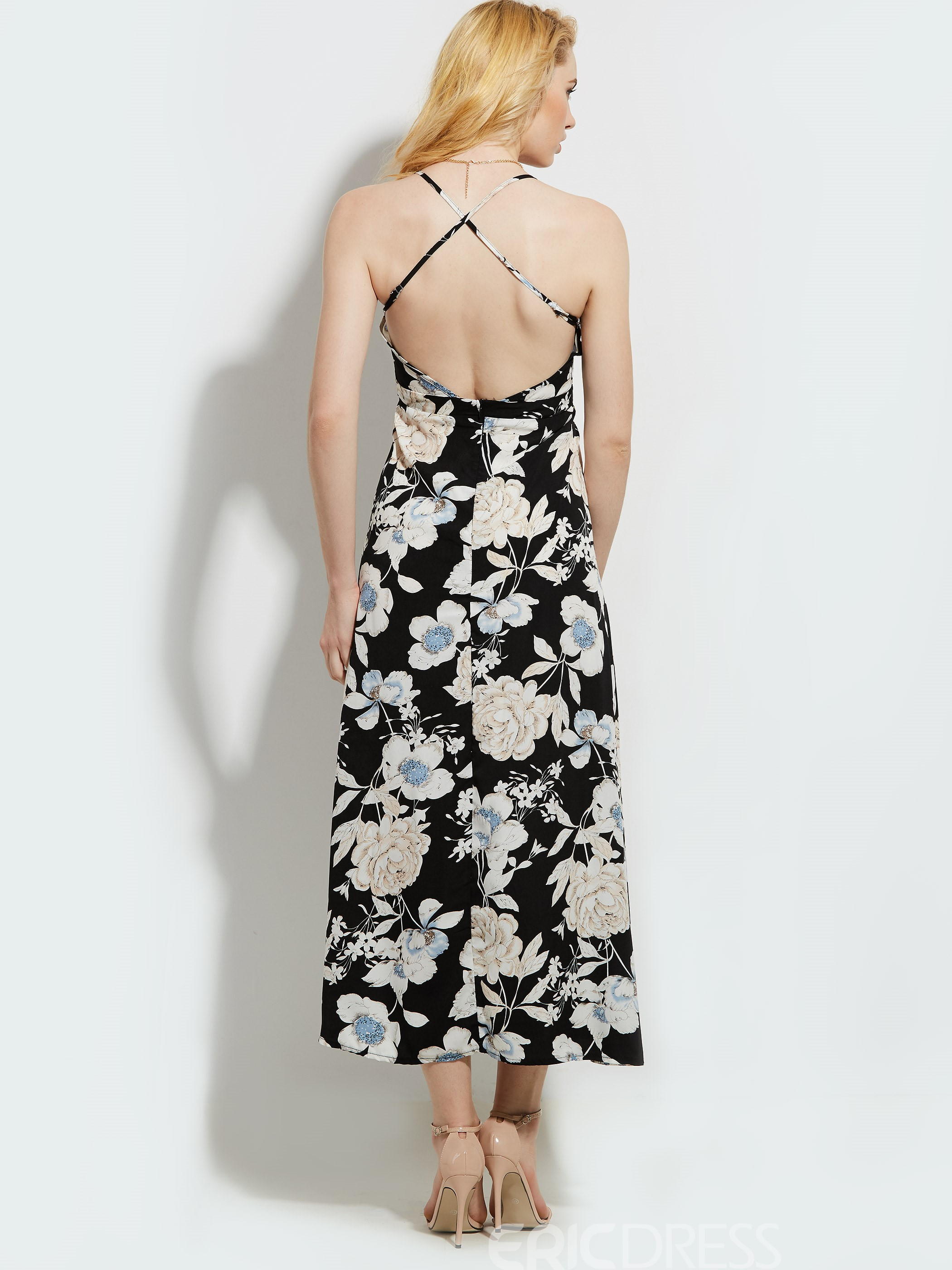 Ericdress V-Neck Print Backless Expansion Maxi Dress